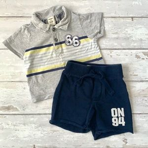 Baby Boy 6-12m Shorts Outfit Polo Shirt Old Navy
